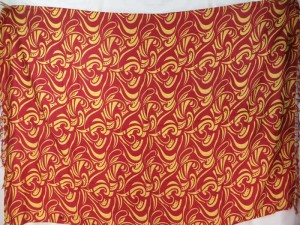 boho retro vintage red gold print sarong