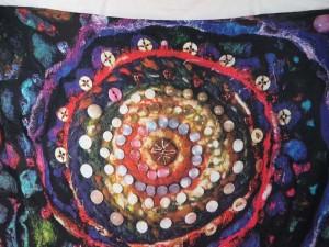 abstract print universe plants sarong black blue