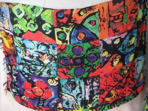 abract art red green multiple color sarong