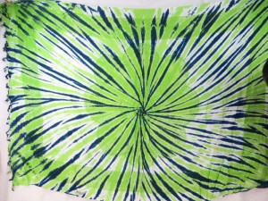giant daisy mandala on centre tie dye sarong with blue green rays