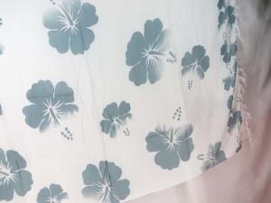 blue grey hibiscus flower sarong white background