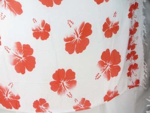 red hibiscus flower sarong white background