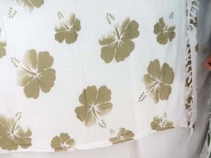 grey hibiscus flower sarong white background