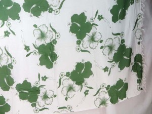green hibiscus flower sarong white background
