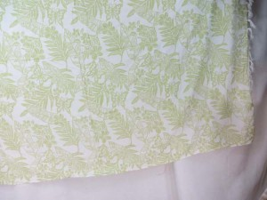 light green butterfly flower leaf on white sarong