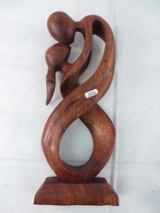 large size hard wood abstract carving love couples
