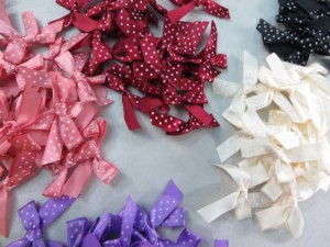 mixed colors polka dots satin ribbon butterfly bow applique / scrapbooking craft DIY / wedding decoration