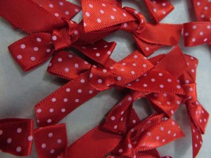red polka dots satin ribbon butterfly bow applique / scrapbooking craft DIY / wedding decoration