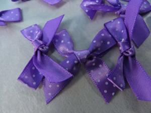 purple polka dots satin ribbon butterfly bow applique / scrapbooking craft DIY / wedding decoration