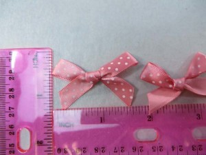 pale pink polka dots satin ribbon butterfly bow applique / scrapbooking craft DIY / wedding decoration