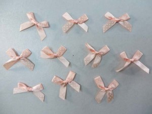 light peach polka dots satin ribbon butterfly bow applique / scrapbooking craft DIY / wedding decoration