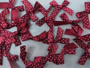 dark red polka dots satin ribbon butterfly bow applique / scrapbooking craft DIY / wedding decoration