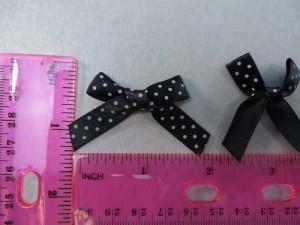 black polka dots satin ribbon butterfly bow applique / scrapbooking craft DIY / wedding decoration