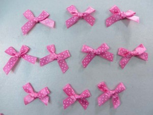 pink polka dots satin ribbon butterfly bow applique / scrapbooking craft DIY / wedding decoration