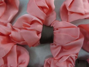 salmon color satin butterfly bow applique / scrapbooking craft DIY / wedding decoration
