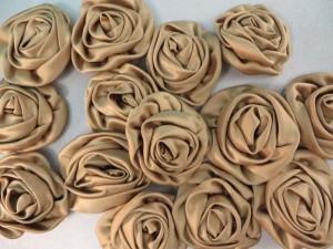 khaki satin large rose applique / scrapbooking craft DIY / wedding decoration