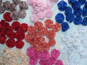 mixed colors satin ribbon rose applique / scrapbooking craft DIY / wedding decoration