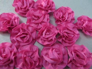 pink satin ribbon rose applique / scrapbooking craft DIY / wedding decoration