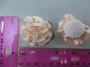 light peach color satin ribbon rose applique / scrapbooking craft DIY / wedding decoration