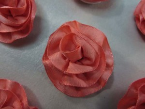 salmon color satin ribbon rose applique / scrapbooking craft DIY / wedding decoration