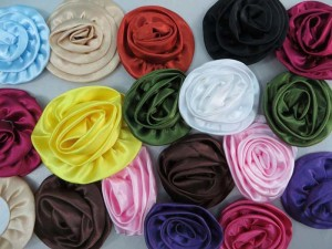 satin ribbon rose applique / scrapbooking craft DIY / wedding decoration