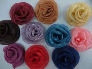 organza ribbon rose applique / scrapbooking craft DIY / wedding decoration