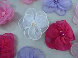 organza ribbon flower applique / scrapbooking craft DIY / wedding decoration