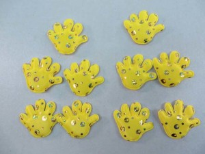 yellow sequins hand padded applique / scrapbooking craft DIY / wedding decoration