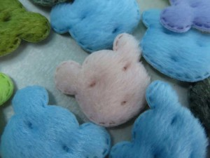 bear head felt padded applique / scrapbooking craft DIY / wedding decoration