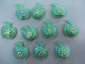 rhinestone apple padded applique / scrapbooking craft DIY / wedding decoration