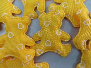 yellow bear padded applique / scrapbooking craft DIY / wedding decoration