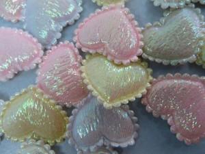 heart satin padded applique / scrapbooking craft DIY / wedding decoration