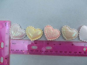 heart satin padded applique / scrapbooking craft DIY / wedding decoration