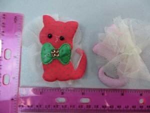 cat lace padded applique / scrapbooking craft DIY / wedding decoration