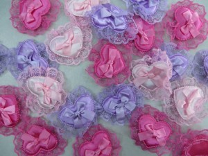 heart lace satin padded applique / scrapbooking craft DIY / wedding decoration