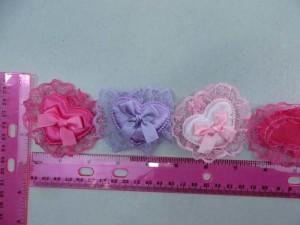 heart lace satin padded applique / scrapbooking craft DIY / wedding decoration