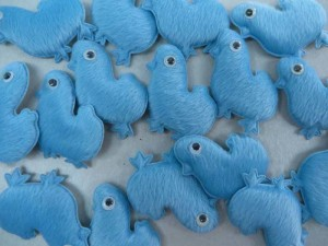 blue chiken felt padded applique / scrapbooking craft DIY / wedding decoration