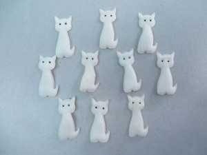 white cat felt padded applique / scrapbooking craft DIY / wedding decoration