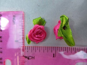 hot pink satin ribbon rose flower applique / scrapbooking craft DIY / wedding decoration