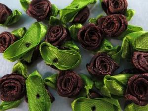 brown satin ribbon rose flower applique / scrapbooking craft DIY / wedding decoration