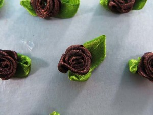 brown satin ribbon rose flower applique / scrapbooking craft DIY / wedding decoration