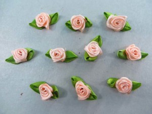 peach color satin ribbon rose flower applique / scrapbooking craft DIY / wedding decoration