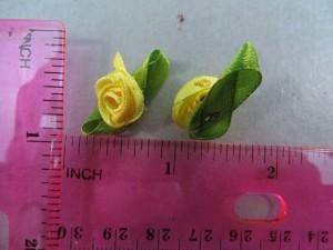 yellow satin ribbon rose flower applique / scrapbooking craft DIY / wedding decoration