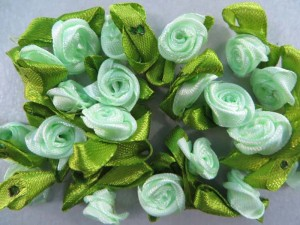 teal green satin ribbon rose flower applique / scrapbooking craft DIY / wedding decoration