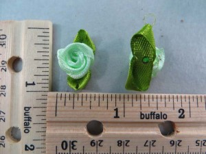 teal green satin ribbon rose flower applique / scrapbooking craft DIY / wedding decoration