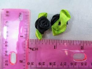 black satin ribbon rose flower applique / scrapbooking craft DIY / wedding decoration