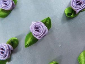 purple satin ribbon rose flower applique / scrapbooking craft DIY / wedding decoration