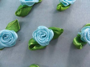 blue satin ribbon rose flower applique / scrapbooking craft DIY / wedding decoration