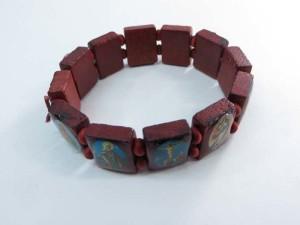 Jesus Saints Rosary wooden stretchy bracelets wristband