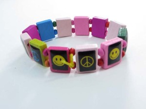 happy face peace sign wooden stretchy bracelets wristband